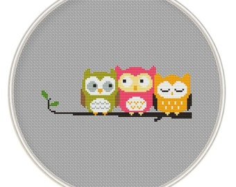 Owls Cross stitch pattern, Counted cross stitch pattern, Instant Download, cross stitch owl, cross stitch PDF, cross stitch bird, MCS012