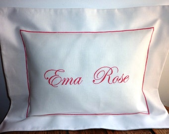 Pillow cover with customized embroidery