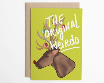 Funny Christmas Card, Funny Holiday Card, Cute Christmas Card, Rudolph Card, Reindeer, Rudolph the red nosed reindeer/C-238