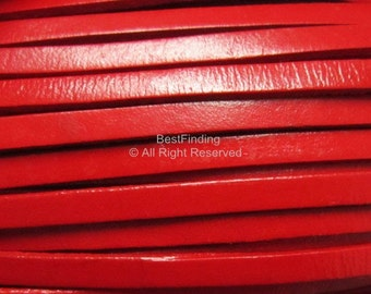 3meters 5x2mm Red Genuine leather cord Flat leather cord leather wrap strip