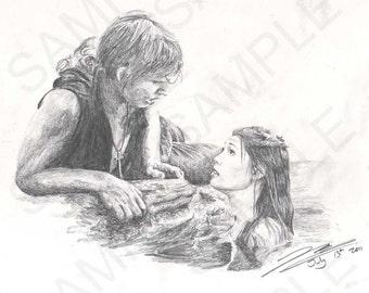 Girl in Pool - A4 Drawing