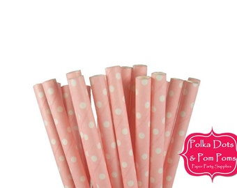 25 BLUSH PINK and WHITE Swiss Polka Dot Paper Drinking Straws / Birthday Party Decoration Ideas and Supplies / Wedding / Baby Shower