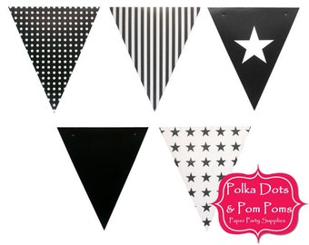 50 BLACK Heavy Card Stock BUNTING Flags / Pennant / Garland / Birthday Party Decoration Ideas & Supplies / Wedding / Baby Shower / Pirate
