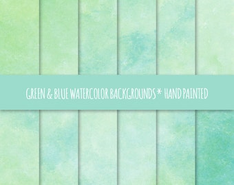 Green & Blue Watercolor Texture Digital Paper; Hand Painted Watercolor Backgrounds ~ Watercolor Scrapbook Paper ~ Watercolor Card Background