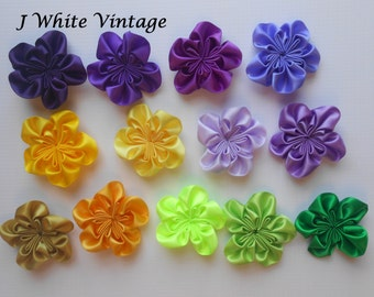 "2"" Satin Cluster Flower, DIY, Baby Accessory Embellishment, Folded Flower, Fabric Flower, Headband Flower, Rosette, Wholesale Supply"