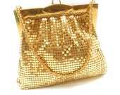 Whiting and Davis Mesh Bag Gold Evening Bag Vintage Wristlet Gold Mesh Purse Bridal Purse Wedding Bag Perfect Gift