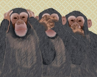 Hear No, See No, Speak No Evil Chimpanzee Blank Printable Card