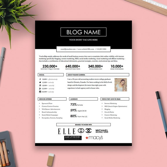 Cute One-Page Media Kit Template Press Kit Pastel Black