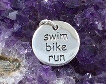 Swim Bike Run Charm, Triathlete Charm, Triathlon Charm. Athlete Charm, Exercise Charm, PS01285