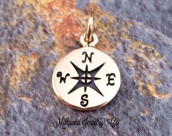 Compass Charm, Compass Pendant, Bronze Charm, Bronze Pendant, Necklace Charm, Necklace Pendant, Nautical Charm, Nautical Pendant, PB0111