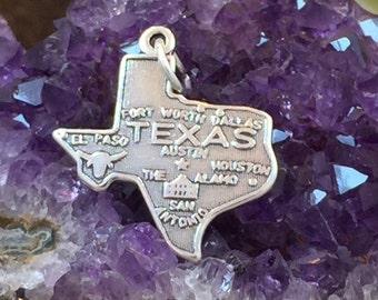 Texas Charm, Texas Pendant, Texas State Charm, Sterling Silver Texas Charm, PS1406