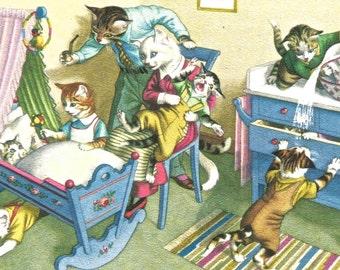 Vintage Alfred Mainzer humorous cat postcard nursery digital download printable image 300 dpi
