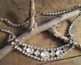 vintage petite la-rel silver tone clear round, oval and square rhinestone necklace