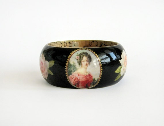 Decoupage wooden bracelet Painted wood bangle Cameo by ...