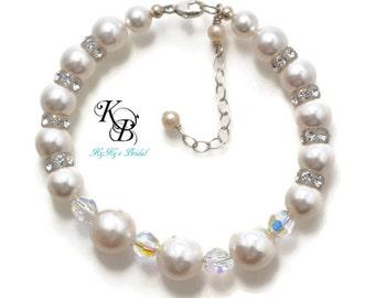 Pearl Bridal Bracelet Pearl Wedding Jewelry Pearl Bracelet Bridesmaid Bracelet Pearl and Crystal Bracelet Bridal Jewelry Prom Jewelry