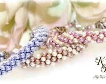 Flower Girl Jewelry, Swarovski Pearl Flower Girl Bracelet, Wedding Jewelry, Pick Your Color, Kumihimo Bracelet, Flower Girl Gift