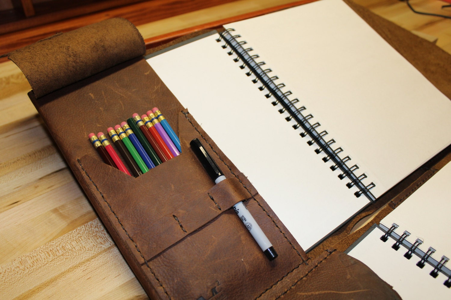 Refillable Sketch Book Cover Leather Journal Large Sketch