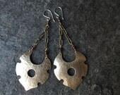 Dangle Earrings Brass Shield Handcut Handmade Garnet Tribal Boho OOAK