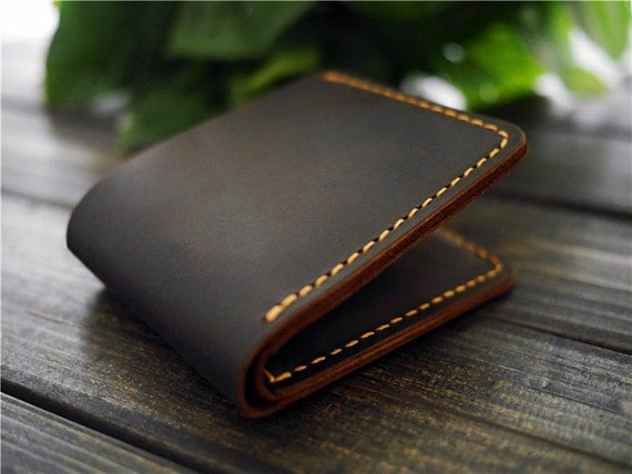 custom mens leather wallet   monogrammed leather wallet   engraved wallet   minimalist leather