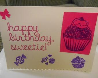 Happy Birthday Sweetie card blank inside with envelope