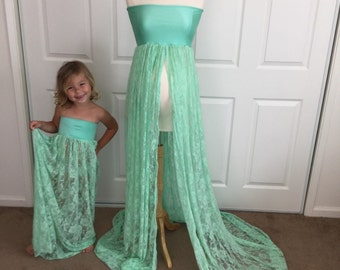 Mammy and Me Dress set, Jersey/Lace Maternity and Girl Gown, Senior photo, Girl dress, Maternity dress