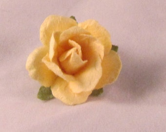 Paper Rose Flower Lapel Pin - Light Yellow - Small - Everyday / Weddings / Proms
