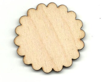 Scalloped Circle Laser Cut Unfinished Wood Shapes  Variety of Sizes Craft Supply DIY FLR87
