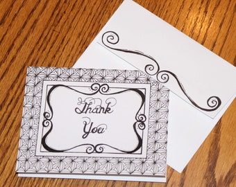 Hand Drawn Thank You Card, Thank You Card, Blank Inside Thank You Card, Black and White Thank You Card