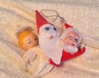 Vintage Handmade Santa Ornaments