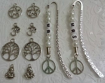 Wedding gift~Bride and groom~bookmarks set of 2~Mr & Mrs~modern twist~tree of life charms~Peace~buddha charms