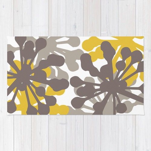 Floral Rug Brown And Mustard Yellow Area Rug Modern