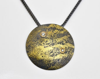 Cosmic Fused 22kt Gold and Oxidized Silver Pendant with White Diamonds