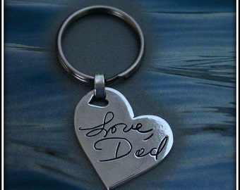 Memorial Jewelry Signature Keychain. Your Loved Ones Actual Signature or handwriting. Fine Silver.