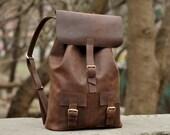 Leather rucksack, hipster backpack, mens knapsack, handmade backpack, travel backpack, P003 Brown