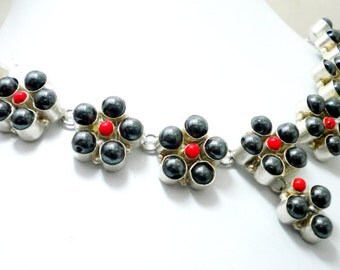 92.5 Sterling Silver overlay Black pearl and Coral stone necklace