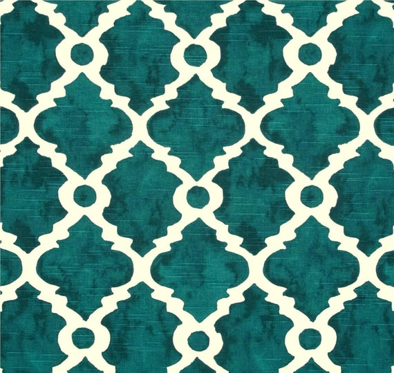 fabric teal blue green geometric home decor fabric by the yard designer drapery or upholstery