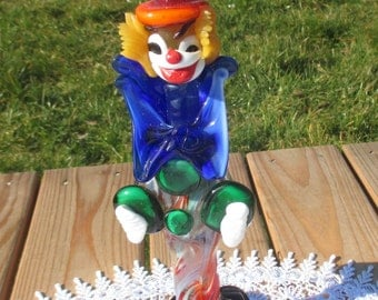 Vintage Italian Murano Art Glass Clown Labeled Funky 9.45""