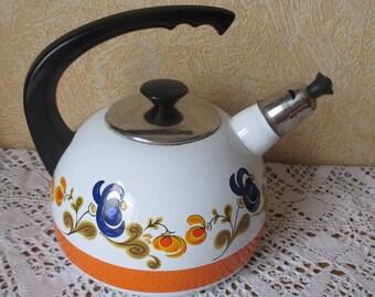 Retro Vintage Tea kettle Enamel Funky colors Enamelware