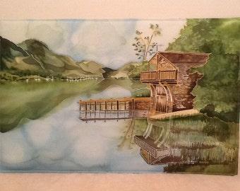 Lake District silk painting....Ullswater boathouse
