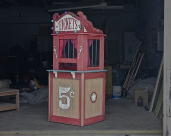 Vintage Carnival Style Wooden Ticket Booth