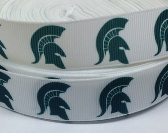 "4 Yards of 7/8"" Trojan Mascot on White Grosgrain Ribbon"