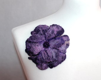 Felted Flower Brooch Purple wool brooch, merino, silk fibers, beads, felt flower, gift for her