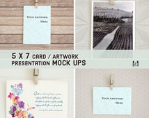 5x7 Card / Artwork Presentation Mock Ups with Clothespins, Portrait & Landscape Layouts, Mockup from Real Photos, Showcase, Hero Images