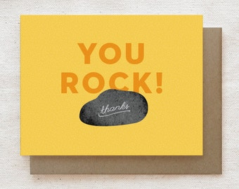 Funny Thank You Card, Thanks Card, Cute Thank You Card, Any Occasion, Card for Friend, Card for Coworker, Thank You Note - You Rock!