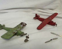 Tootsie Toy Cast Metal Airplanes, Set of Two, Vintage, Approx 1940's