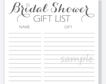Wedding Gift List : Bridal gift list Etsy