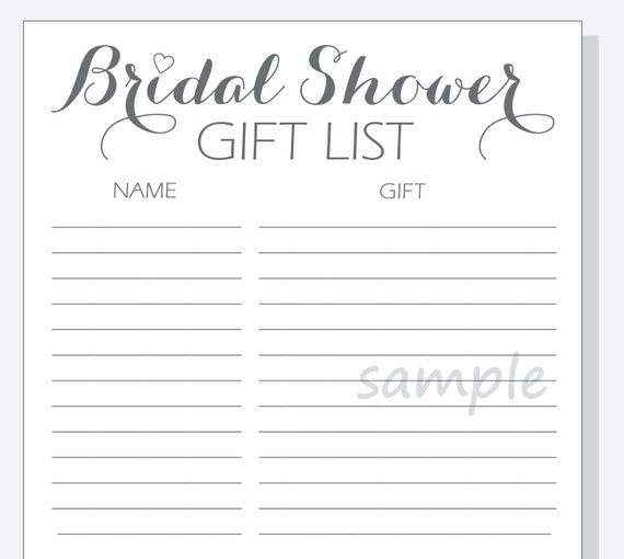 DIY Bridal Shower Gift List PrintableCalligraphy Script with red ...
