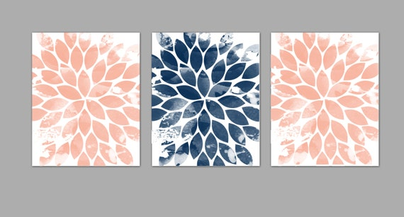 Items Similar To Watercolor Floral Set Coral Peach Navy