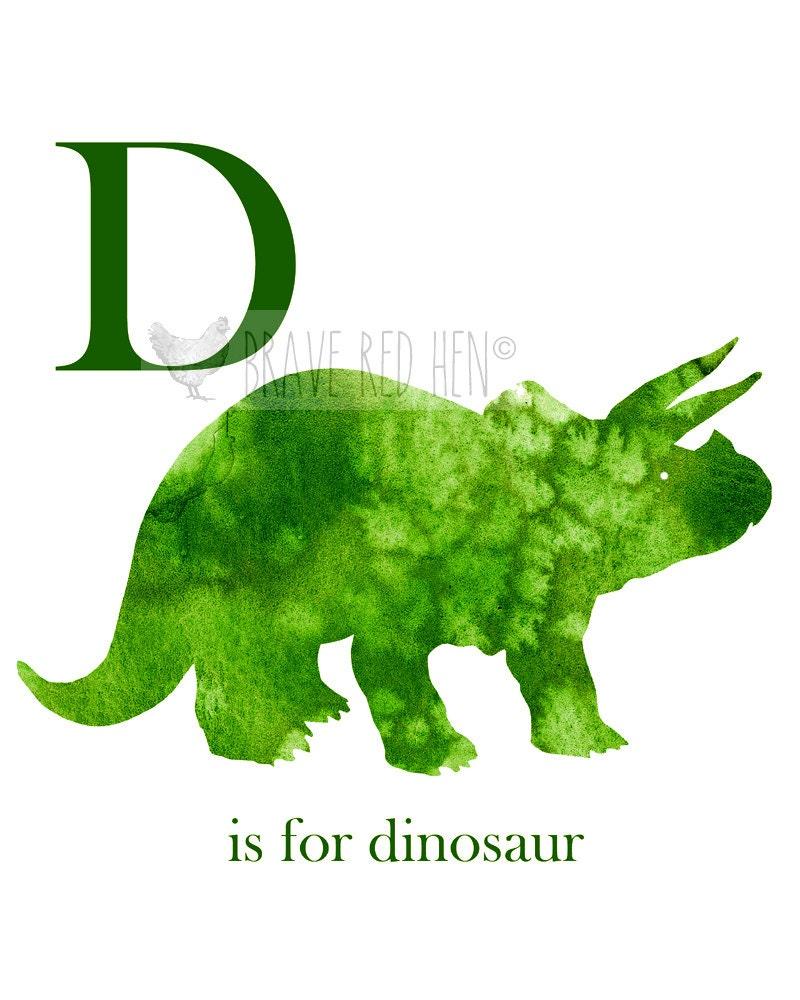 Illustration Print Dinosaur D Is For Dinosaur Watercolor