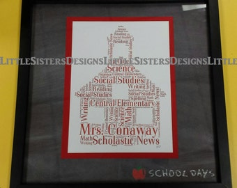 Personalized Custom School House Typography Word Art Print